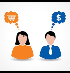 Male and female thinks about shopping and money vector image