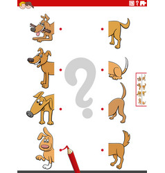 Matching halves cartoon pictures with dogs vector