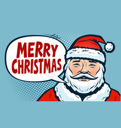 merry christmas banner happy santa claus pop vector image