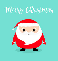 merry christmas santa claus face head body round vector image