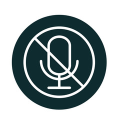 Microphone audio muted sound block style icon vector