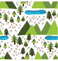 mountain lakes outdoor scene pattern tile vector image