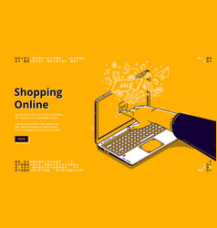 Online shopping isometric landing page web banner vector
