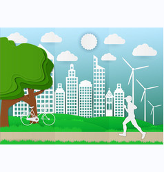 paper art man are running in city parks ecology vector image