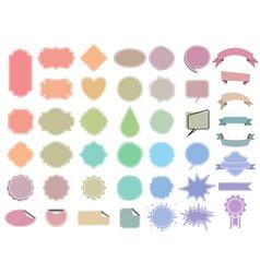 pastel color label tag set ribbon sticker banner vector image