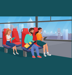 People reading in bus flat vector
