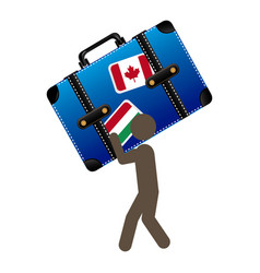 Person with suitcase in his hands and shoulder vector