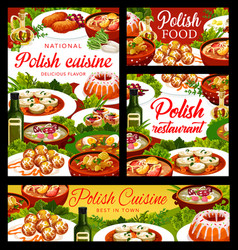 Polish cuisine food posters poland dishes meals vector
