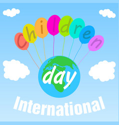 Poster international childrens day on first of vector