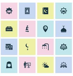 Ramadan icons set collection koran mosque vector