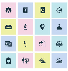 Ramadan icons set collection of koran mosque vector