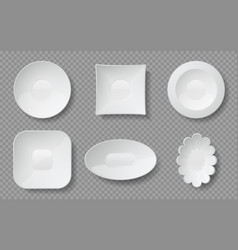 Realistic food plates white empty dishes and vector
