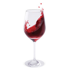 Red wine splashing in glasses isolated on white vector