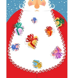 Santa Claus gifts in his beard Many gift boxes in vector image