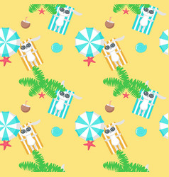 seamless pattern with cute bunny taking vector image