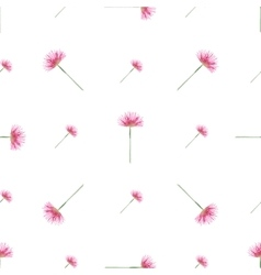 Seamless pattern with watercolor pink flowers vector image