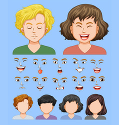 Set male and female facial expression vector