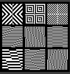 Set of black and white geometric seamless pattern vector