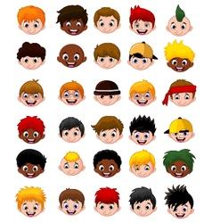 Set of cartoon childs head boys vector image
