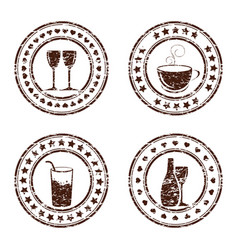 set of grunge beverage stamps vector image