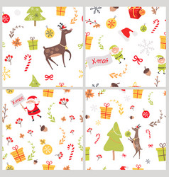Set of seamless patterns with christmas elements vector