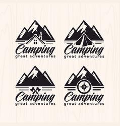 set of summer camp logo vector image