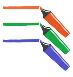 set of three markers of different colors vector image