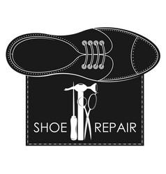 Shoe repair with tool symbol vector