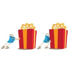 Shopping bag mascot pushing gift box vector image