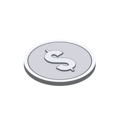 Silver coin symbol flat isometric icon or logo 3d vector