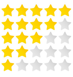 Simple rounded star rating with outlines makes vector