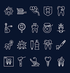 stomatology icon set in thin line style vector image
