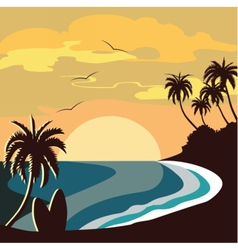 Summer beach sunset vector