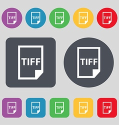 TIFF Icon sign A set of 12 colored buttons Flat vector image