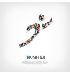 triumpher people sign 3d vector image