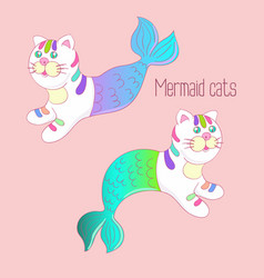 Two mermaid cats with colorful tails vector