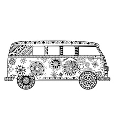 Van in zentangle style vector