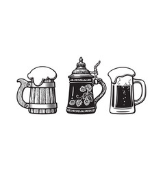 vintage beer mugs old wooden mug german stein vector image