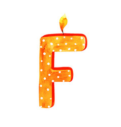 Watercolor happy birthday letter f candle vector