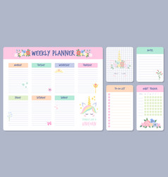 weekly planner calendar days organizers with cute vector image