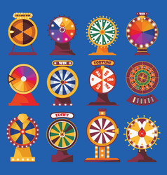 wheels of fortune set vivid flat objects with vector image