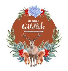 Winter animal wreath design with squirrel deer vector