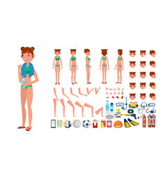 Woman in swimsuit animated female vector