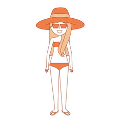 Woman mother wear swimsuit hat sunglasses and flip vector