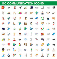 100 communication icons set cartoon style vector image vector image