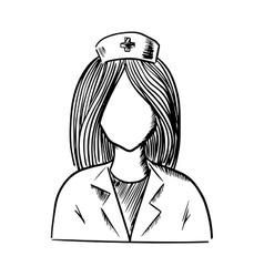 Doctor or nurse icon sketch vector image