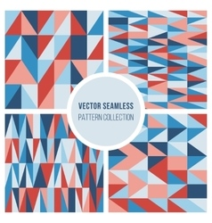 Set of Four Seamless Geometric Triangle vector image