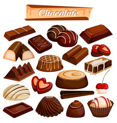 set of yummy assorted chocolate food dessert vector image vector image