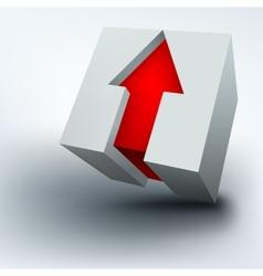 3d cube with arrow vector image