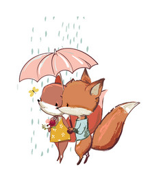 cute fox with duck vector image vector image